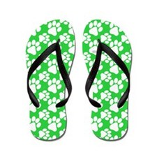 Dog Paws Green-Small Flip Flops