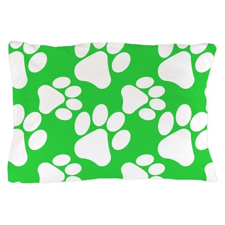 Dog Paws Green-Small Pillow Case