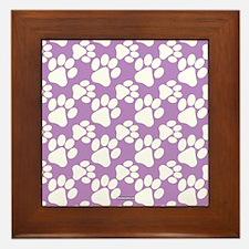 Dog Paws Light Purple Framed Tile