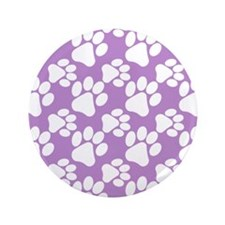 "Dog Paws Light Purple 3.5"" Button"