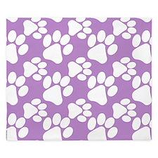 Dog Paws Light Purple-Small King Duvet