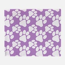 Dog Paws Light Purple-Small Throw Blanket