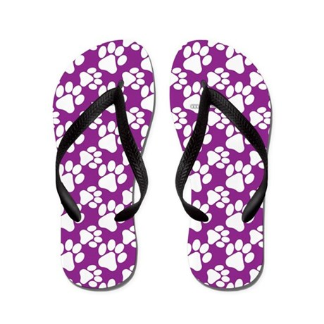 Dog Paws Purple-Small Flip Flops