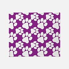 Dog Paws Purple-Small Throw Blanket