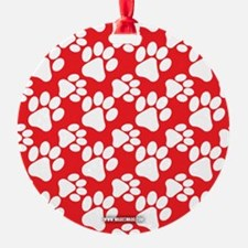 Dog Paws Red Ornament