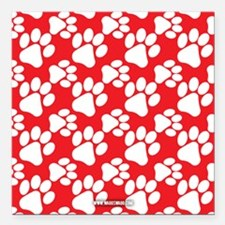 """Dog Paws Red Square Car Magnet 3"""" x 3"""""""