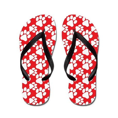 Dog Paws Red-Small Flip Flops