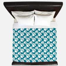 Dog Paws Teal-Small King Duvet