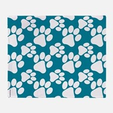 Dog Paws Teal-Small Throw Blanket