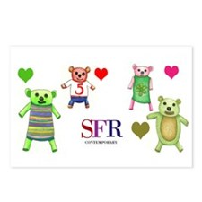 Teddy Bear and Hearts Postcards (Package of 8)
