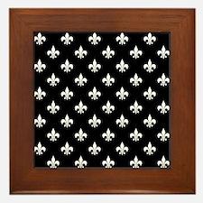 Black and White Fleur de Lis Framed Tile