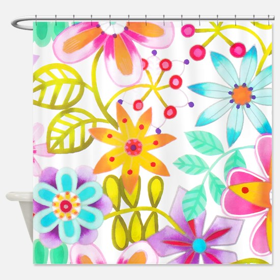 Multicolored Floral Shower Curtain