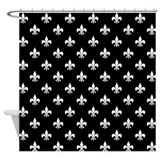 Fleur de lis on black Shower Curtains