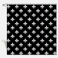 Black and White Fleur de Lis Shower Curtain