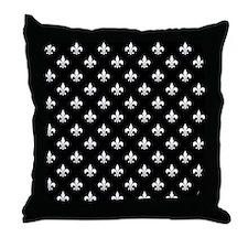 Black and White Fleur de Lis Throw Pillow