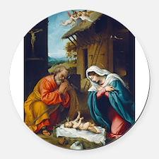 Lorenzo Lotto - The Nativity Round Car Magnet