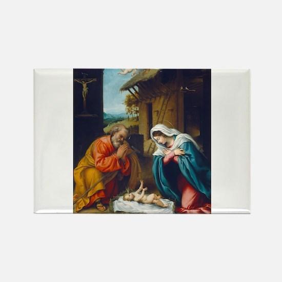 Lorenzo Lotto - The Nativity Rectangle Magnet