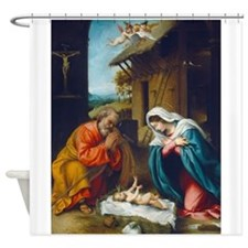 Lorenzo Lotto - The Nativity Shower Curtain