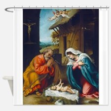 Lorenzo Lotto - The Nativity Shower Curtain