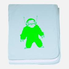 Green Bigfoot Alien baby blanket