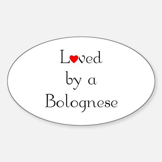 Loved by a Bolognese Oval Decal
