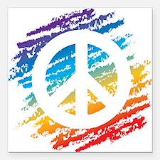 "Rainbow Crayon Peace Symbol Square Car Magnet 3"" x"