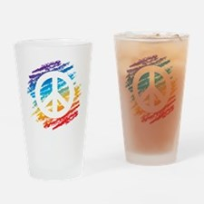 Rainbow Crayon Peace Symbol Drinking Glass