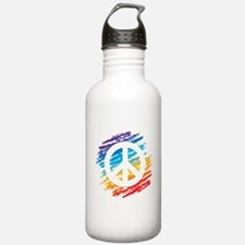 Rainbow Crayon Peace Symbol Water Bottle