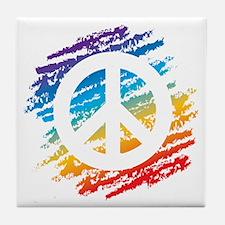 Rainbow Crayon Peace Symbol Tile Coaster