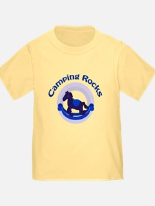 Camping Rocks Rocking Horse Blue T-Shirt