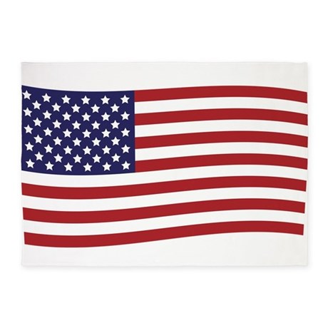 Waving American Flag 5'x7'Area Rug