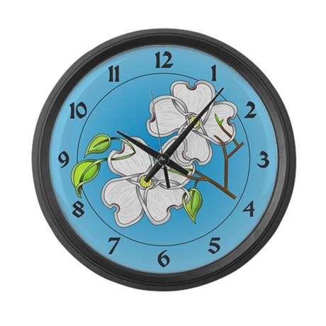 White Dogwood Large Wall Clock By Knotyourworld