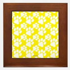 Dog Paws Yellow Framed Tile