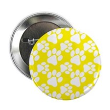 "Dog Paws Yellow 2.25"" Button"
