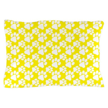 Dog Paws Yellow-Small Pillow Case