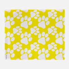 Dog Paws Yellow-Small Throw Blanket