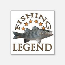 "Fishing legend Striped Bass Square Sticker 3"" x 3"""
