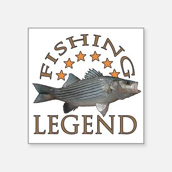 "Fishing legend Striped Bass Square Sticker 3"" x 3"""