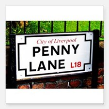 "penny lane, liverpool sign Square Car Magnet 3"" x"
