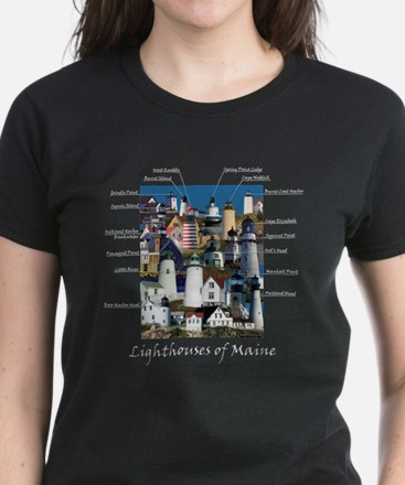 Lighthouses of Maine Women's Dark T-Shirt