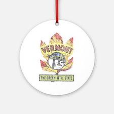 Vintage Vermont Maple Leaf Ornament (Round)