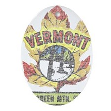 Vintage Vermont Maple Leaf Ornament (Oval)