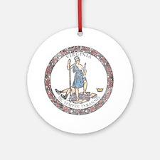 Virginia Vintage State Flag Ornament (Round)