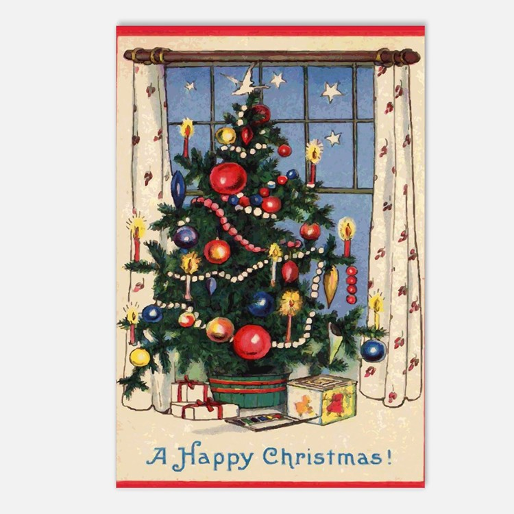 Cute Happy christmas Postcards (Package of 8)