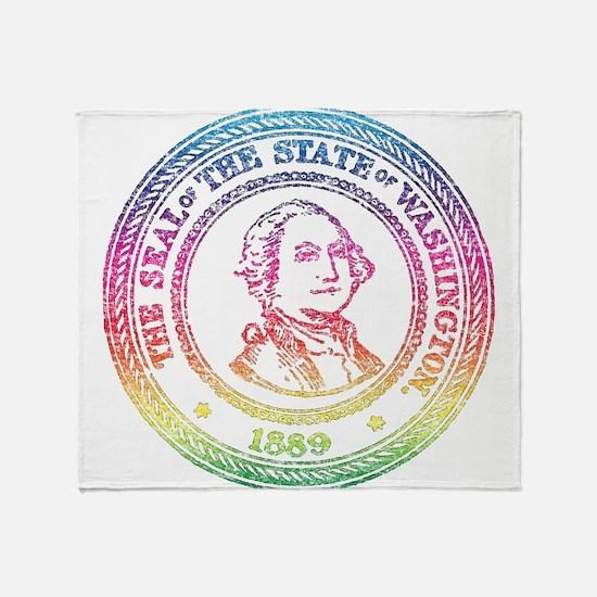 Vintage Washington Rainbow Throw Blanket