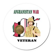 Afghanistan War Veteran Round Car Magnet