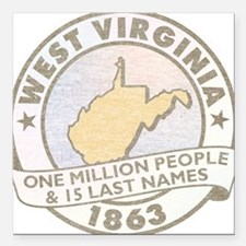 """Faded West Virginia Square Car Magnet 3"""" x 3"""""""