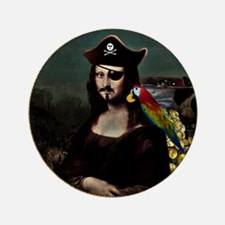 "Mona Lisa Pirate Captain 3.5"" Button"