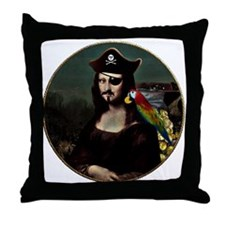 Mona Lisa Pirate Captain Throw Pillow