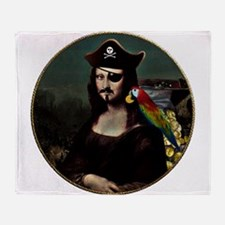 Mona Lisa Pirate Captain Throw Blanket